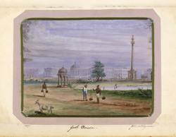 View of the maidan, Calcutta, with Government House and Ochterlony monument